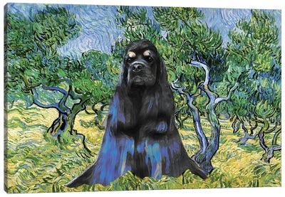 American Cocker Spaniel Olive Grove Van Gogh Canvas Art Print