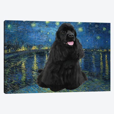 American Cocker Spaniel Starry Night Over The Rhone Canvas Print #NDG842} by Nobility Dogs Canvas Artwork