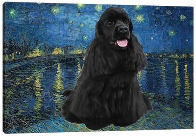 American Cocker Spaniel Starry Night Over The Rhone Canvas Art Print