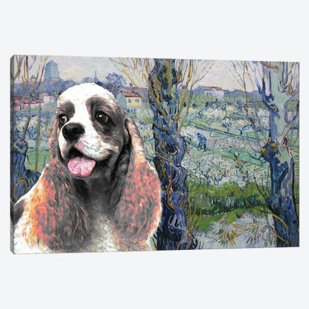 American Cocker Spaniel Orchard In Blossom Canvas Print #NDG846} by Nobility Dogs Art Print