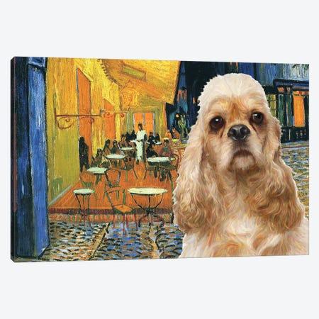 American Cocker Spaniel Café Terrace At Night Canvas Print #NDG847} by Nobility Dogs Art Print