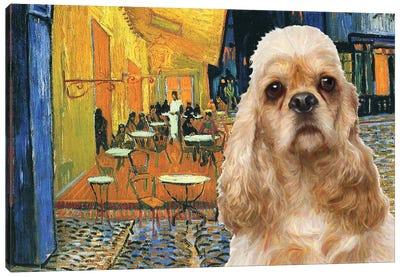 American Cocker Spaniel Café Terrace At Night Canvas Art Print