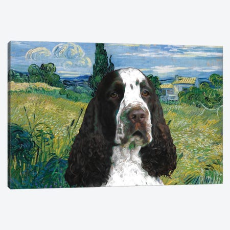 English Springer Spaniel Green Wheat Field With Cypress Canvas Print #NDG866} by Nobility Dogs Art Print