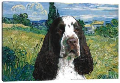 English Springer Spaniel Green Wheat Field With Cypress Canvas Art Print