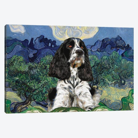 English Springer Spaniel Olive Trees Canvas Print #NDG867} by Nobility Dogs Canvas Art Print