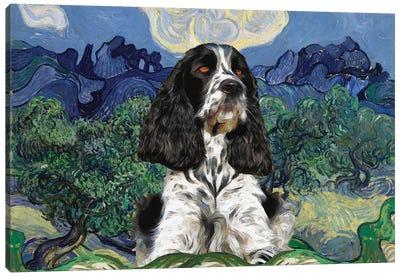 English Springer Spaniel Olive Trees Canvas Art Print