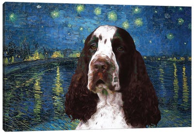 Liver English Springer Spaniel Starry Night Over The Rhone Canvas Art Print