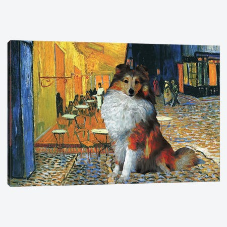 Shetland Sheepdog Sheltie Cafe Terrace At Night Canvas Print #NDG86} by Nobility Dogs Canvas Print
