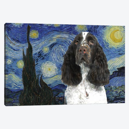 English Springer Spaniel Starry Night Canvas Print #NDG870} by Nobility Dogs Art Print