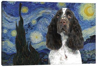 English Springer Spaniel Starry Night Canvas Art Print