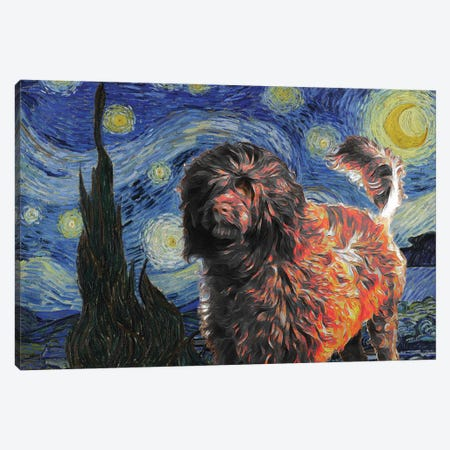Red Portuguese Water Dog Starry Night Canvas Print #NDG879} by Nobility Dogs Art Print