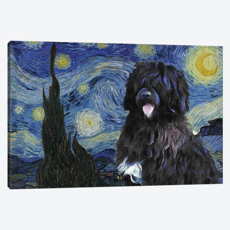 Portuguese Water Dog Starry Night Canvas Print #NDG880} by Nobility Dogs Canvas Art