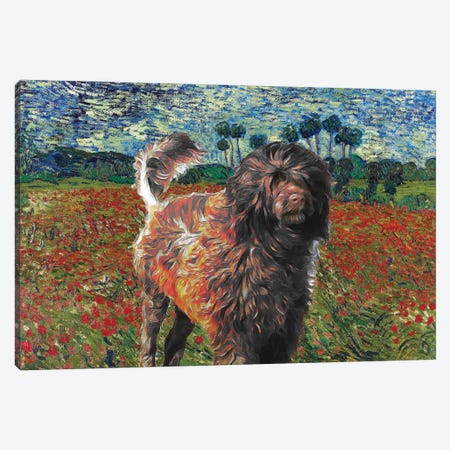 Portuguese Water Dog Poppy Field Canvas Print #NDG882} by Nobility Dogs Canvas Artwork