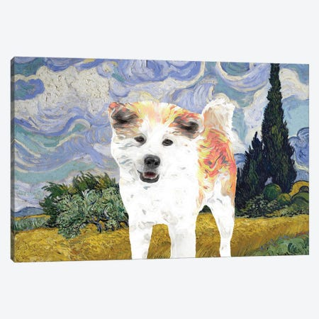 Akita Inu Wheat Field With Cypresses Canvas Print #NDG900} by Nobility Dogs Art Print