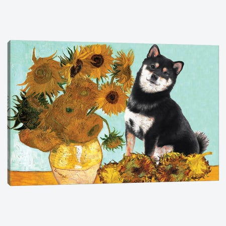 Shiba Inu Sunflowers Canvas Print #NDG904} by Nobility Dogs Canvas Artwork