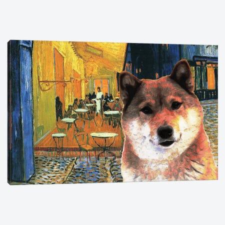 Shiba Inu Café Terrace At Night Canvas Print #NDG905} by Nobility Dogs Canvas Art