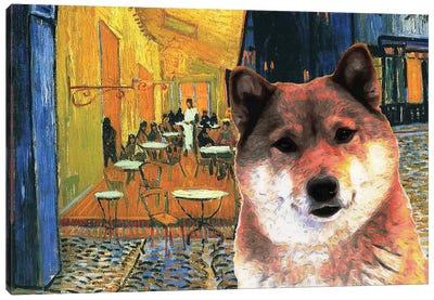 Shiba Inu Café Terrace At Night Canvas Art Print