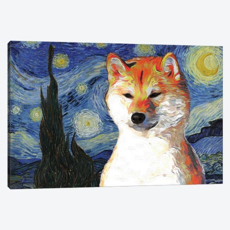 Shiba Inu The Starry Night Canvas Print #NDG906} by Nobility Dogs Canvas Art