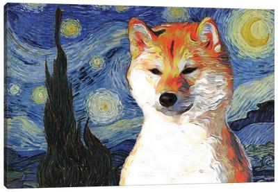Shiba Inu The Starry Night Canvas Art Print