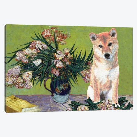 Shiba Inu Vase With Oleanders And Books Canvas Print #NDG907} by Nobility Dogs Canvas Art