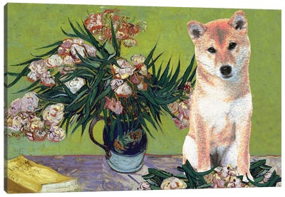 Shiba Inu Vase With Oleanders And Books Canvas Art Print