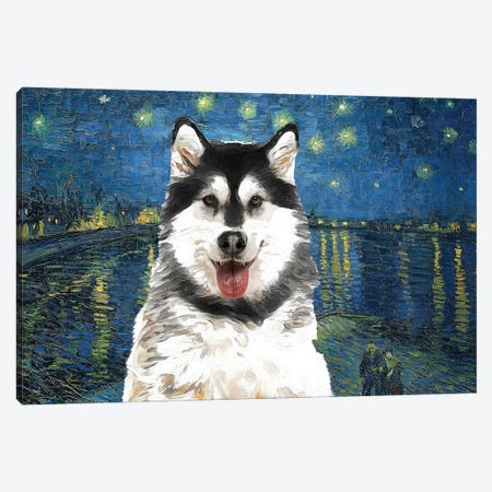 Alaskan Malamute Starry Night Over The Rhone Canvas Print #NDG909} by Nobility Dogs Art Print