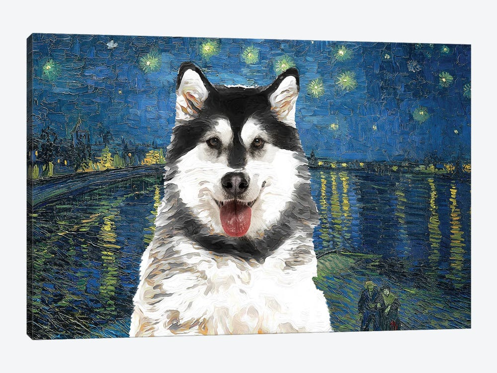 Alaskan Malamute Starry Night Over The Rhone by Nobility Dogs 1-piece Canvas Art Print