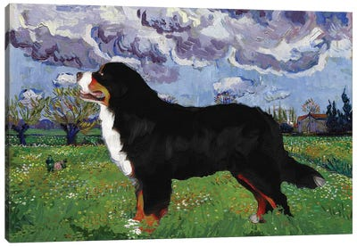 Bernese Mountain Dog Meadow With Flowers Canvas Art Print