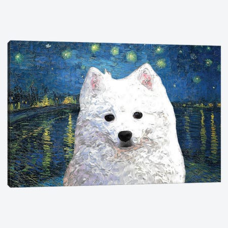 American Eskimo Dog Starry Night Over The Rhone Canvas Print #NDG912} by Nobility Dogs Canvas Wall Art