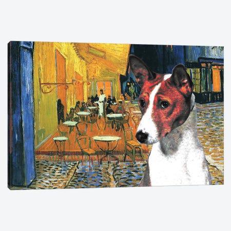 Basenji Café Terrace At Night Canvas Print #NDG914} by Nobility Dogs Canvas Print