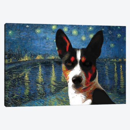 Basenji Starry Night Over The Rhone Canvas Print #NDG915} by Nobility Dogs Art Print