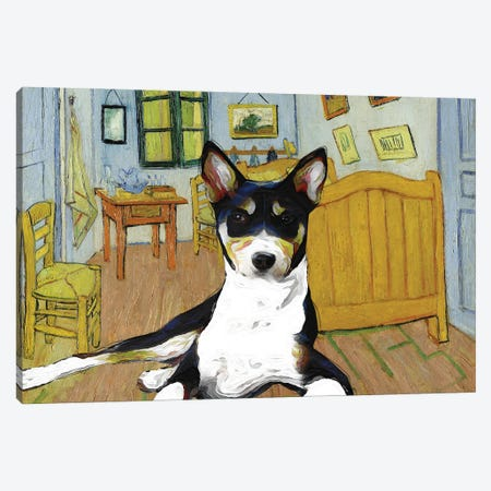 Basenji The Bedroom Canvas Print #NDG917} by Nobility Dogs Canvas Print