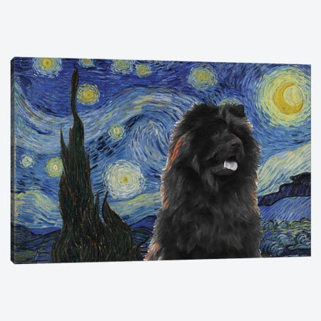 Black Chow Chow Starry Night Canvas Print #NDG921} by Nobility Dogs Art Print