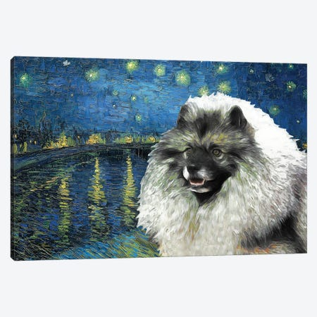 Keeshond Starry Night Over The Rhone Canvas Print #NDG924} by Nobility Dogs Canvas Wall Art