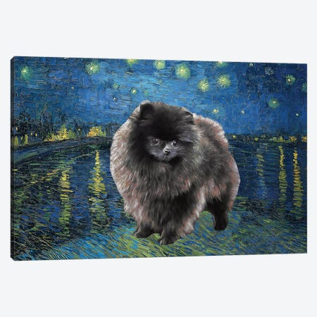 Pomeranian Starry Night Over The Rhone Canvas Print #NDG942} by Nobility Dogs Canvas Print