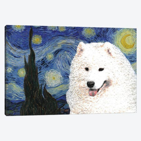 Samoyed Starry Night Canvas Print #NDG951} by Nobility Dogs Canvas Artwork