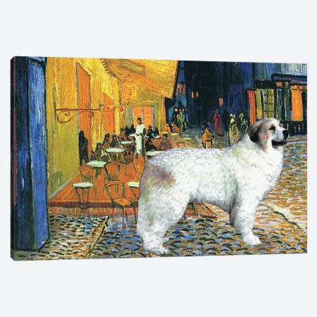 Great Pyrenees Cafe Terrace At Night Canvas Print #NDG97} by Nobility Dogs Canvas Art