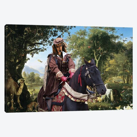 Longhaired Dachshund The Queen At Paradise Canvas Print #NDG984} by Nobility Dogs Canvas Wall Art