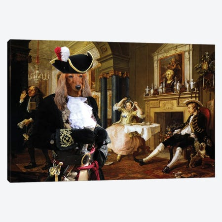 Longhaired Dachshund Marriage Canvas Print #NDG987} by Nobility Dogs Canvas Wall Art