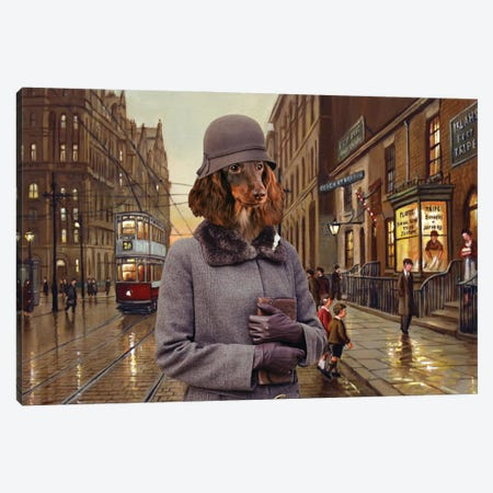 Longhaired Dachshund Charleston Lady Canvas Print #NDG988} by Nobility Dogs Canvas Print