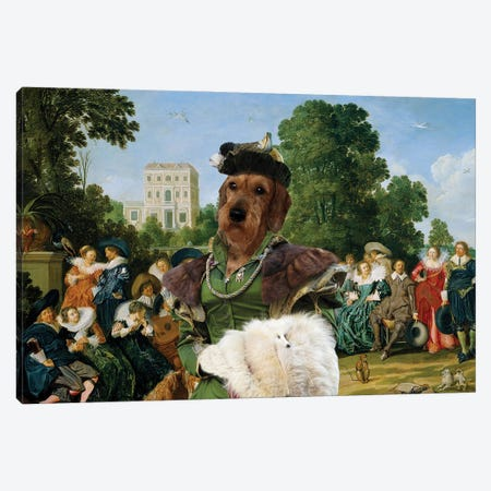 Wirehaired Dachshund Palace Garden Canvas Print #NDG996} by Nobility Dogs Art Print