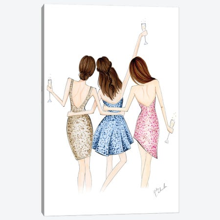 Cheers Trio Canvas Print #NDN12} by Nadine de Almeida Canvas Wall Art