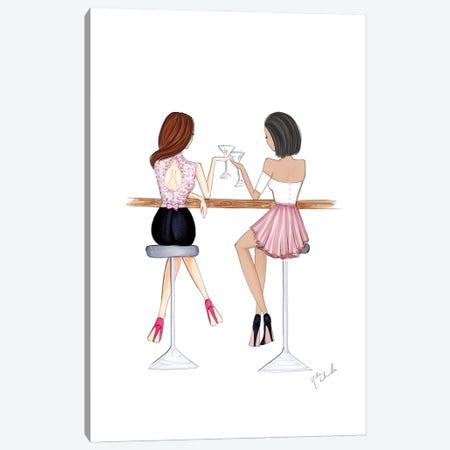 Cocktail Girls Canvas Print #NDN14} by Nadine de Almeida Art Print