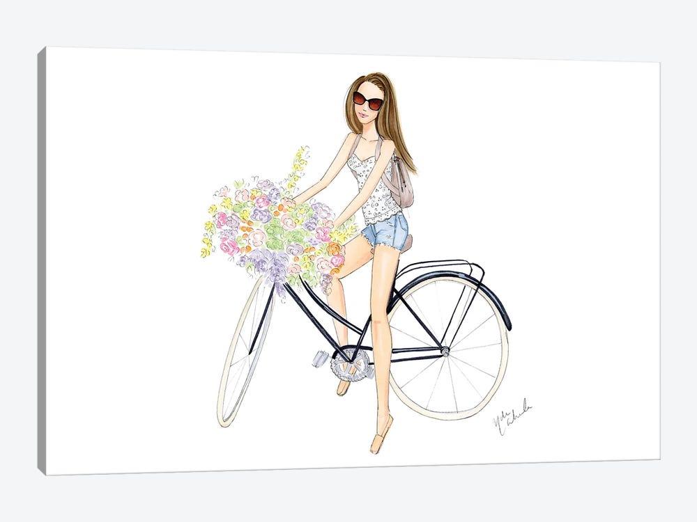 Bicycle Girl by Nadine de Almeida 1-piece Canvas Artwork