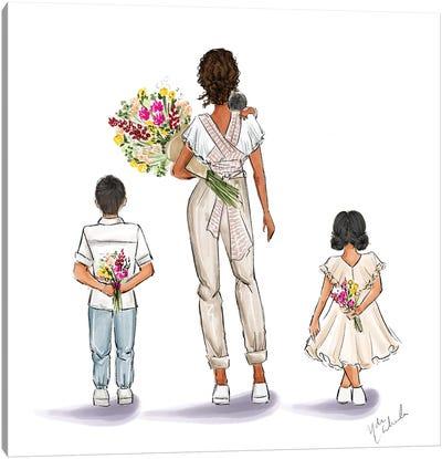 Boho Mom And Kids Canvas Art Print