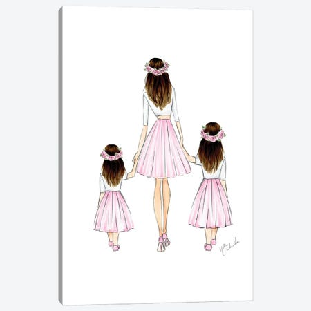 Mother And 2 Daughters Canvas Print #NDN3} by Nadine de Almeida Canvas Artwork