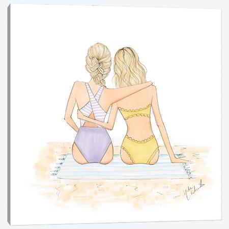Beach BFFs Duo Canvas Print #NDN44} by Nadine de Almeida Canvas Artwork