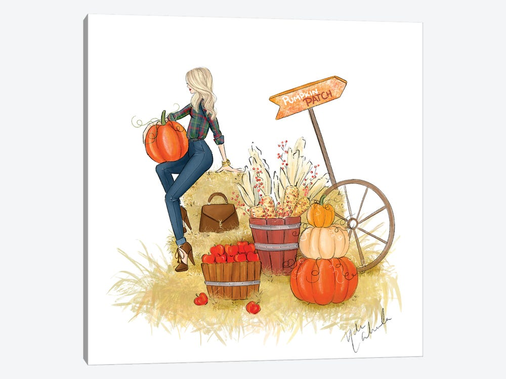 Fall Pumpkin Patch by Nadine de Almeida 1-piece Art Print