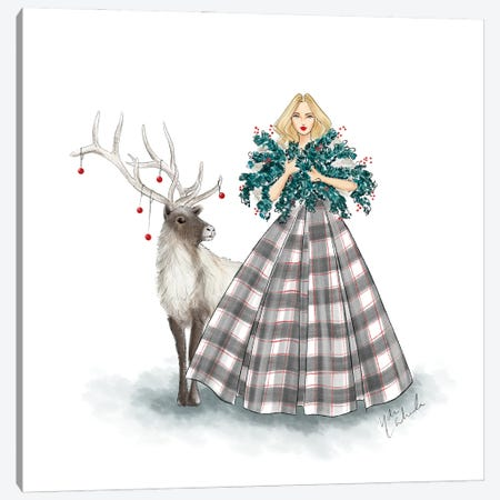 Holiday Plaid Dress Canvas Print #NDN47} by Nadine de Almeida Canvas Artwork