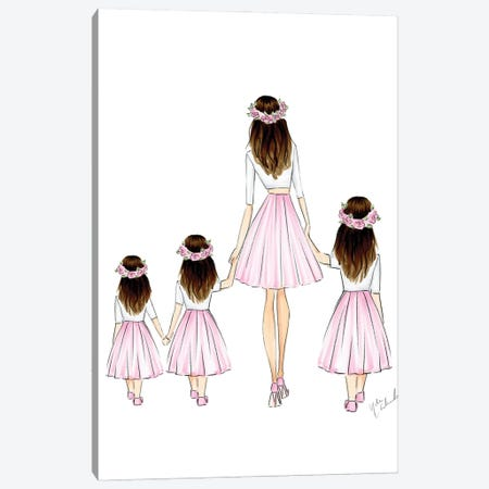 Mother + 3 Daughters Canvas Print #NDN4} by Nadine de Almeida Art Print